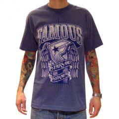 tee shirt Famous black light blue
