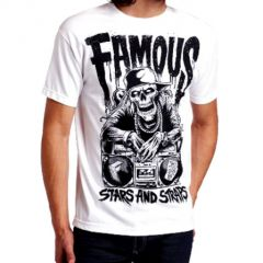 TSHIRT FAMOUS DROPPING BEAT BLANC